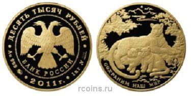 10 000 рублей 2011 года Переднеазиатский леопард -