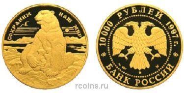 10 000 рублей 1997 года Полярный медведь