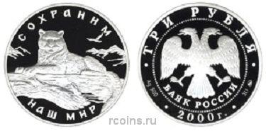 3 рубля 2000 года Снежный барс -