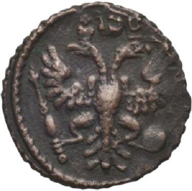 Полушка 1731 года - Перечекан копейки Петра I.