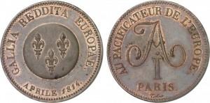 5 франков 1814 года - В ЧЕСТЬ ИМПЕРАТОРА АЛЕКСАНДРА I. Медь