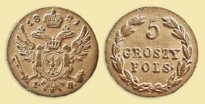 5 грошей 1821 года