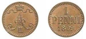 1 пенни 1869 года