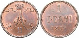 1 пенни 1874 года