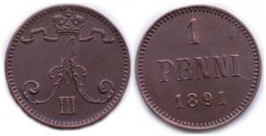 1 пенни 1891 года