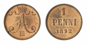 1 пенни 1892 года - Медь