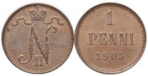 1 пенни 1905 года