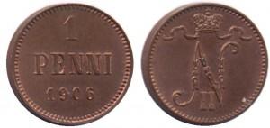 1 пенни 1906 года - Медь