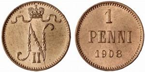 1 пенни 1908 года - Медь