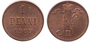 1 пенни 1909 года - Медь