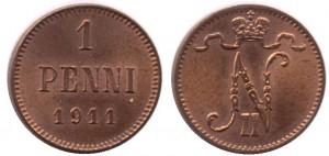 1 пенни 1911 года - Медь