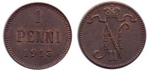 1 пенни 1913 года - Медь