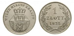 1 злотый 1835 года - WOLNE MIASTO KRAKOW. Серебро