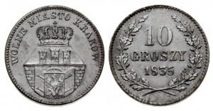 10 грошей 1835 года - WOLNE MIASTO KRAKOW. Серебро