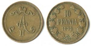 10 пенни 1875 года