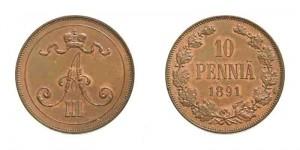 10 пенни 1891 года