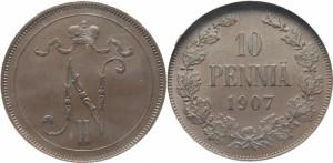 10 пенни 1907 года - Медь