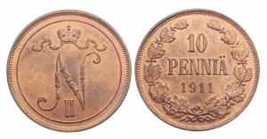 10 пенни 1911 года - Медь