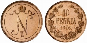 10 пенни 1916 года - Медь
