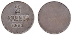 2 пенни 1866 года - Пробные. Без ободка. Медь