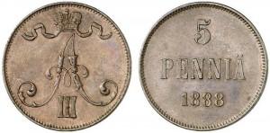 5 пенни 1888 года - Медь