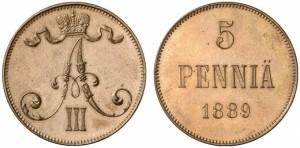 5 пенни 1889 года - Медь