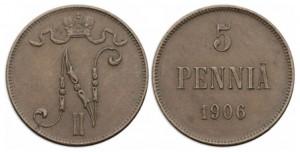 5 пенни 1906 года - Медь