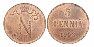 5 пенни 1908 года