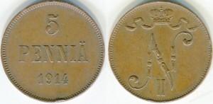5 пенни 1914 года - Медь