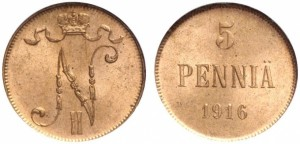 5 пенни 1916 года