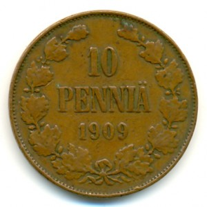 10 пенни 1909 года - Медь