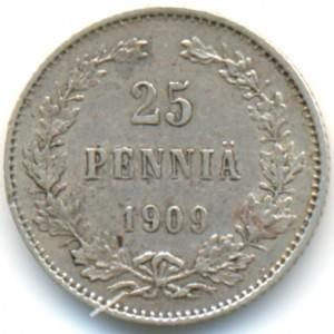 25 пенни 1909 года - Серебро