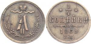 1/4 копейки 1869 года