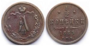 1/2 копейки 1883 года